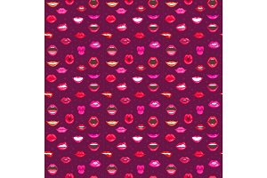 Woman lips seamless pattern