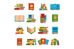 Flat books set vector illustration