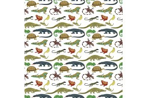Reptiles animals vector seamless pattern.