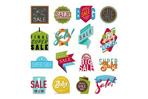 Shop sale flat vector stickers banner illustration