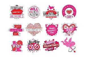 14 february Valentine Day love badges vector illustration.