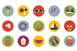 Set of summer modern icons.