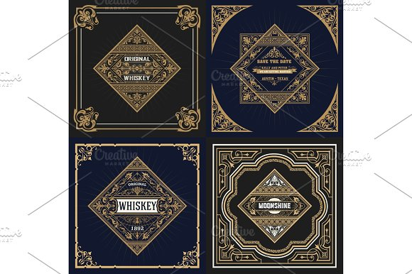 Set Whiskey Labes Vector