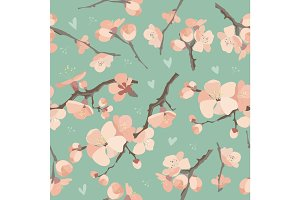 Seamless spring flowers on tree branch pattern