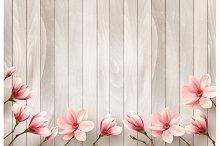 Beautiful magnolia branches