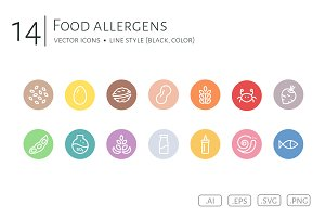 Food Allergens Icon Set