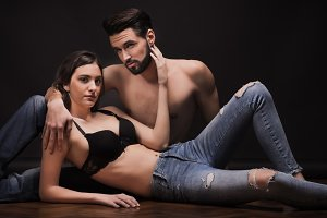 young couple relaxing intimate touch