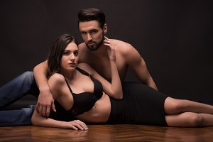 young couple romantic nude