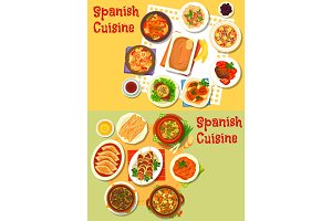 Spanish cuisine seafood and meat dishes icon set