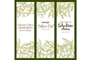 Olive oil and branches vector sketch banners