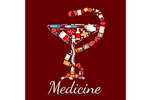Medicine poster Bowl of Hygieia symbol