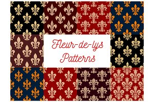 Fleur-de-lis heraldic royal floral patterns set