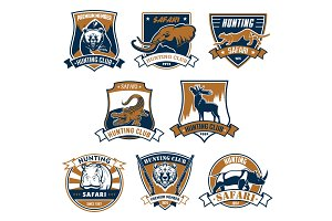 Hunting sport club vector icons, emblems set