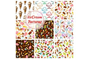 Ice cream desserts vector seamless patterns set