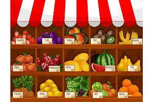 Fruit shop vector showcase stand with fruits