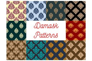 Damask floral ornate vector patterns set