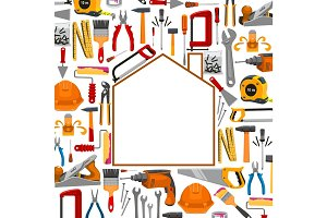 Building and repair work tools poster