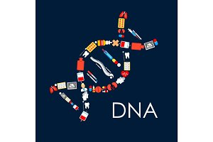 DNA symbol poster of medical items