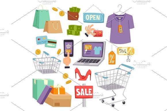 Supermarket grocery shopping retro cartoon icons vector illustration.