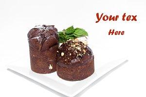 Chocolate cakes isolated on white