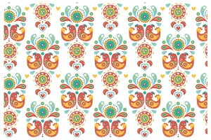 Colorful ornament with birds