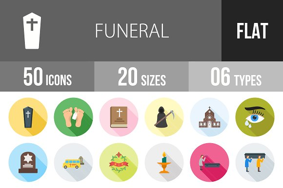 50 Funeral Flat Shadowed Icons in Graphics