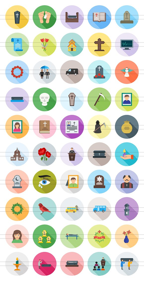 50 Funeral Flat Shadowed Icons in Graphics - product preview 1
