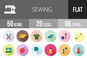 50 Sewing Flat Shadowed Icons