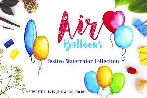 Watercolor Air Balloons