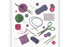 Knitting and crochet set