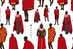 Maasai couple african people pattern