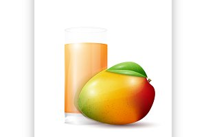 Mango and glass of juice