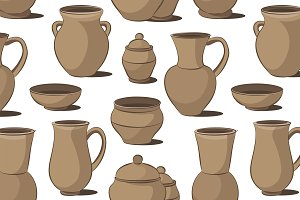 Rustic ceramic utensils pattern