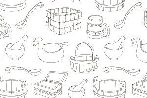 Rustic wooden utensils pattern