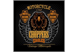 Eagle and Choppers - T-shirt print for motorcyle club on dark background