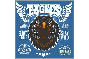 Eagle head - T-shirt print with hunting club on dark background - Hunting Club Template.
