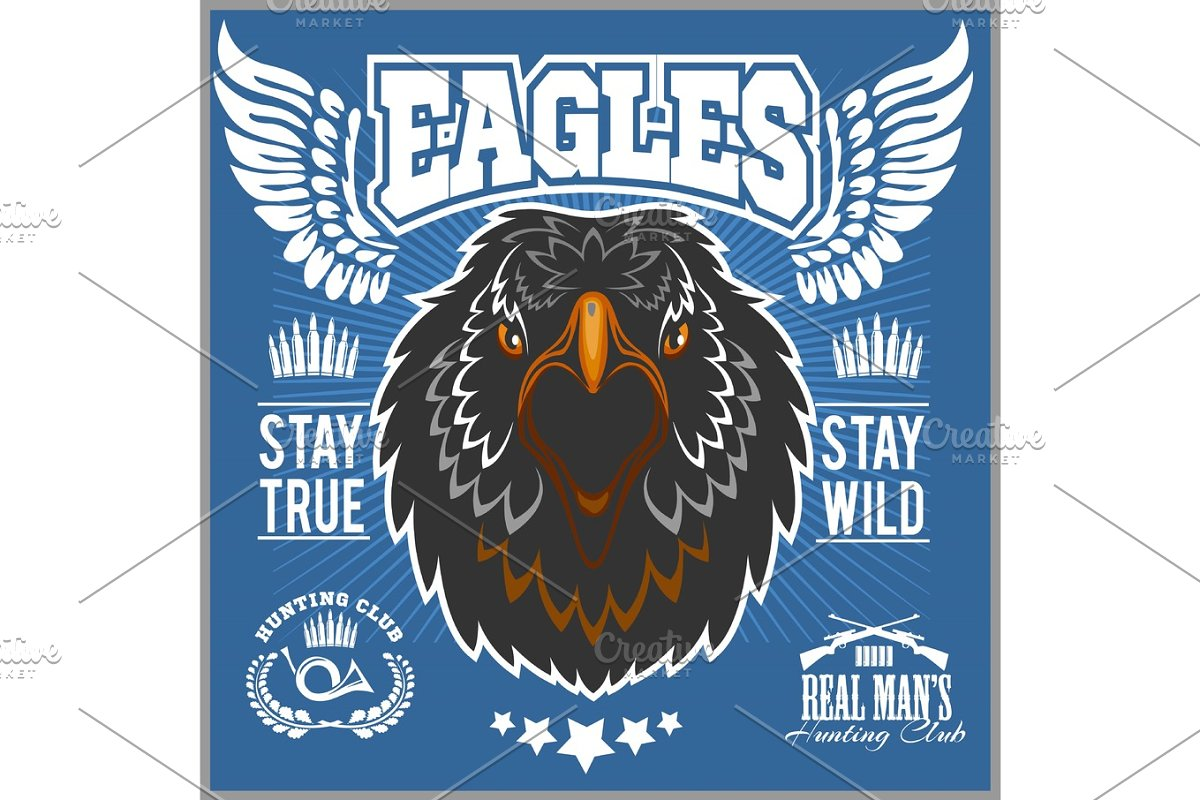 Eagle head - T-shirt print with hunting club on dark background - Hunting  Club Template