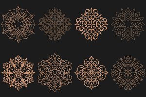 Set of circular Arabic patterns