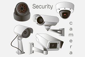 Vector set of security camera