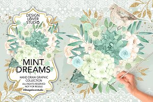 Watercolor Mint Dreams design
