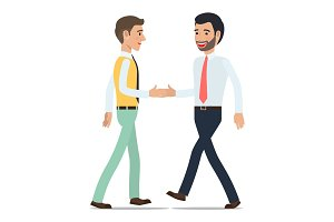Businessmen Shaking Hands at Meeting Flat Vector