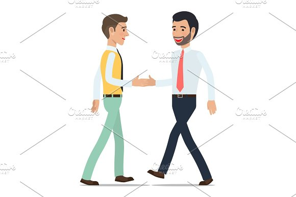 Businessmen Shaking Hands at Meeting Flat Vector