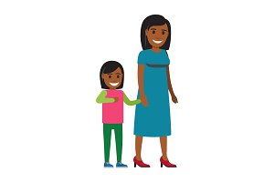 Happy Mother Walking with Daughter Flat Vector