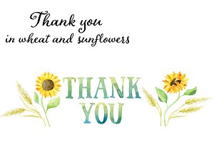 Thank you tag in wheat & sunflowers