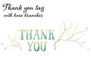 Thank you tag and bare branches