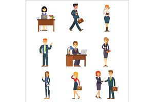 Business people man and woman vector illustration.