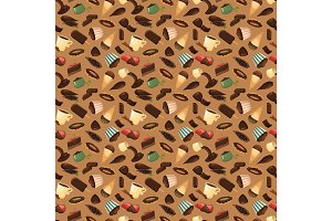 Chocolate sweets background vector illustration.