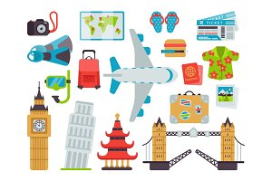 Airport travel icons flat vector illustration.