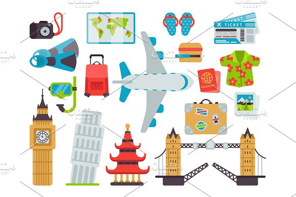 Airport Travel Icons Flat Vector Illustration