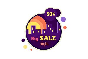 Big Night Sale Round Banner. 50 Percent Off